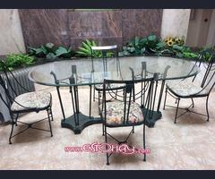 Mesa hierro con 6 sillas