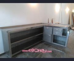 Mueble cafetero de acero inoxidable