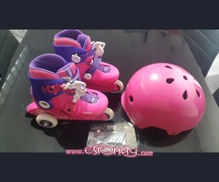 Girls skates and helmet