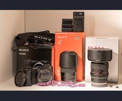 Cámara digital SLR Sony Alpha A6500 24.2MP + 3 lentes y accesorios