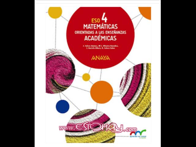 Busco libro de matematicas 4° eso Anaya, solo el primer ...
