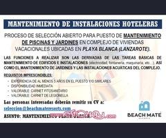 PERSONAL MANTENIMIENTO DE INSTALACIONES HOTELERAS