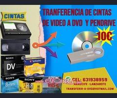 VHS y otras cintas de video a Pendrive o DVD